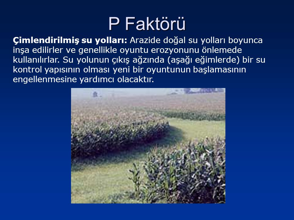 P Faktörü Çimlendirilmiş su yolları: Arazide doğal su yolları boyunca inşa edilirler ve genellikle oyuntu erozyonunu önlemede kullanılırlar. Su yolunu