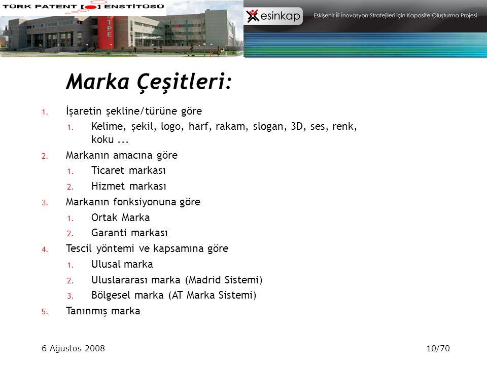 6 Ağustos 200810/70 Marka Çeşitleri: 1. İşaretin şekline/türüne göre 1. Kelime, şekil, logo, harf, rakam, slogan, 3D, ses, renk, koku... 2. Markanın a