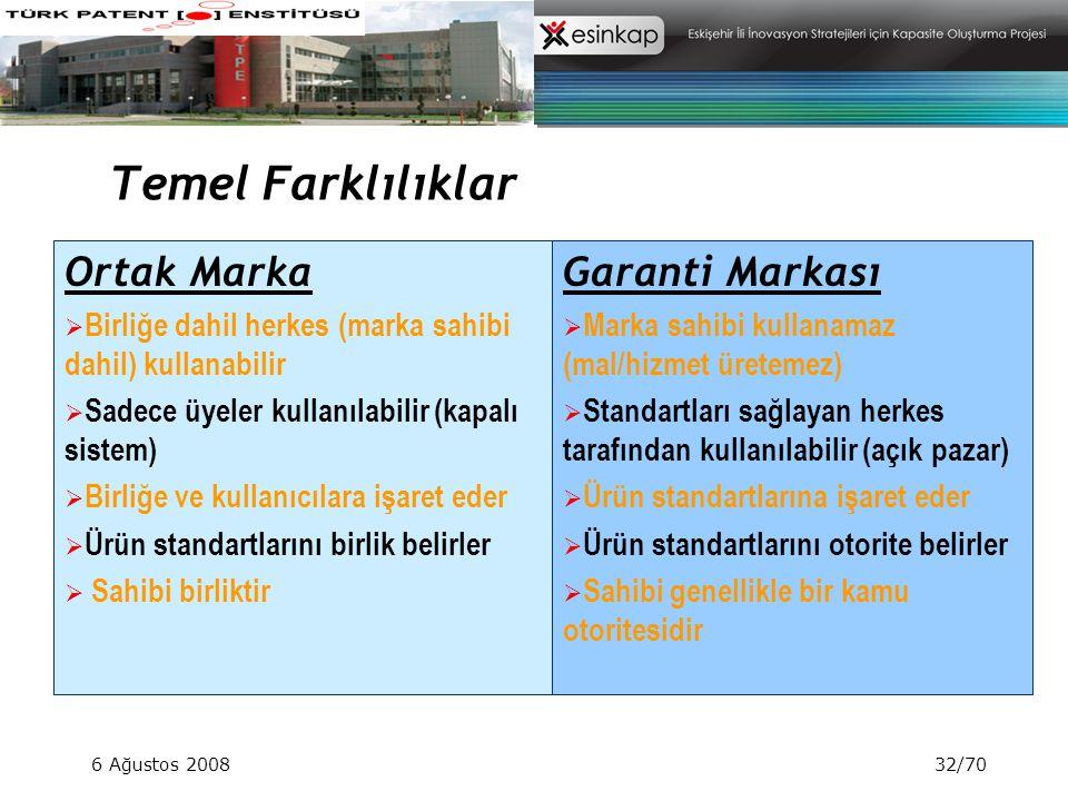 6 Ağustos 200832/70 Temel Farklılıklar Ortak Marka  Birliğe dahil herkes (marka sahibi dahil) kullanabilir  Sadece üyeler kullanılabilir (kapalı sis