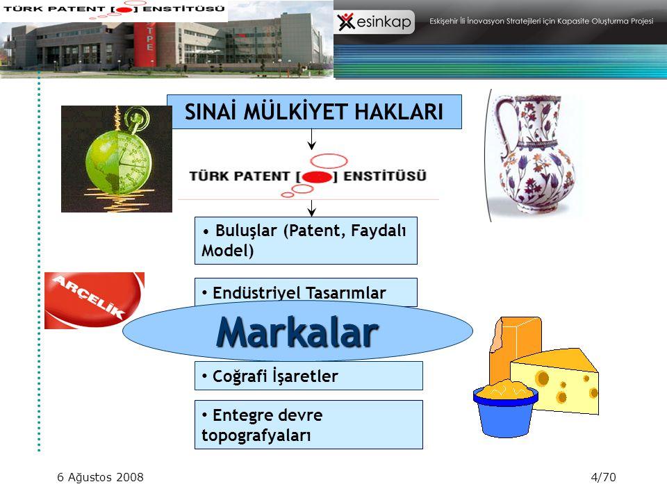 6 Ağustos 20084/70 SINAİ MÜLKİYET HAKLARI Buluşlar (Patent, Faydalı Model) Endüstriyel Tasarımlar Markalar Coğrafi İşaretler Markalar Entegre devre to