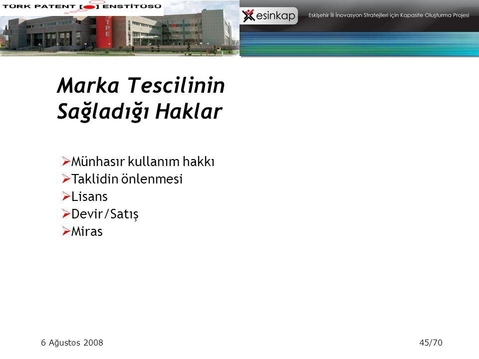 6 Ağustos 200845/70 Marka Tescilinin Sağladığı Haklar  Münhasır kullanım hakkı  Taklidin önlenmesi  Lisans  Devir/Satış  Miras
