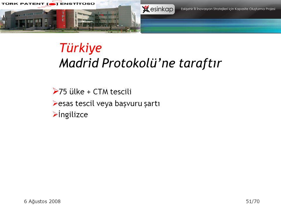 6 Ağustos 200851/70 Türkiye Madrid Protokolü'ne taraftır  75 ülke + CTM tescili  esas tescil veya başvuru şartı  İngilizce