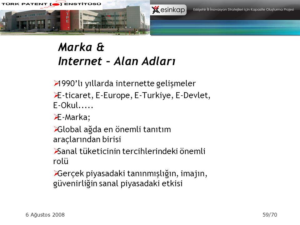 6 Ağustos 200859/70 Marka & Internet – Alan Adları  1990'lı yıllarda internette gelişmeler  E-ticaret, E-Europe, E-Turkiye, E-Devlet, E-Okul..... 