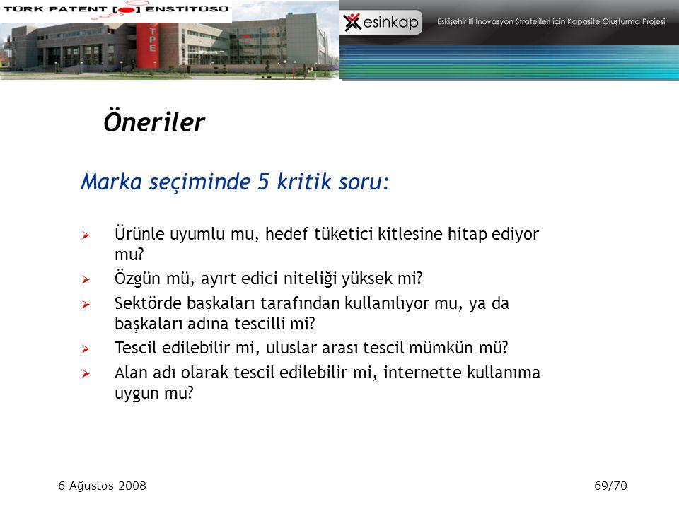 6 Ağustos 200869/70 Öneriler Marka seçiminde 5 kritik soru:  Ürünle uyumlu mu, hedef tüketici kitlesine hitap ediyor mu?  Özgün mü, ayırt edici nite