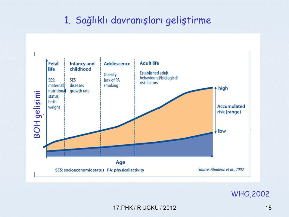 17.PHK / R UÇKU / 201215 WHO,2002 BOH gelişimi 1.Sağlıklı davranışları geliştirme