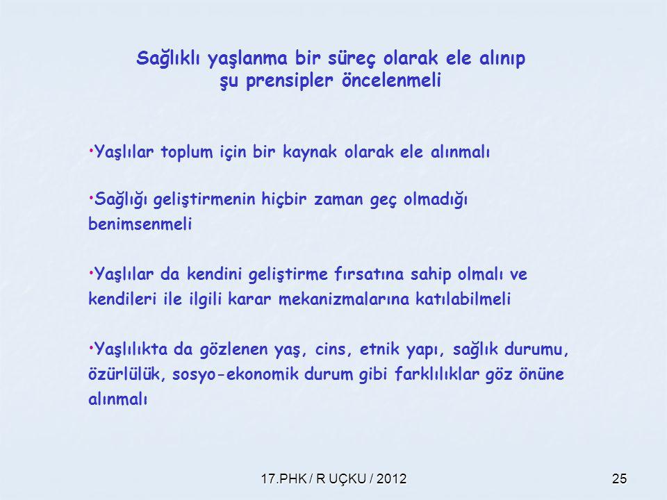 17.PHK / R UÇKU / 201225 Sağlıklı yaşlanma bir süreç olarak ele alınıp şu prensipler öncelenmeli Yaşlılar toplum için bir kaynak olarak ele alınmalı S