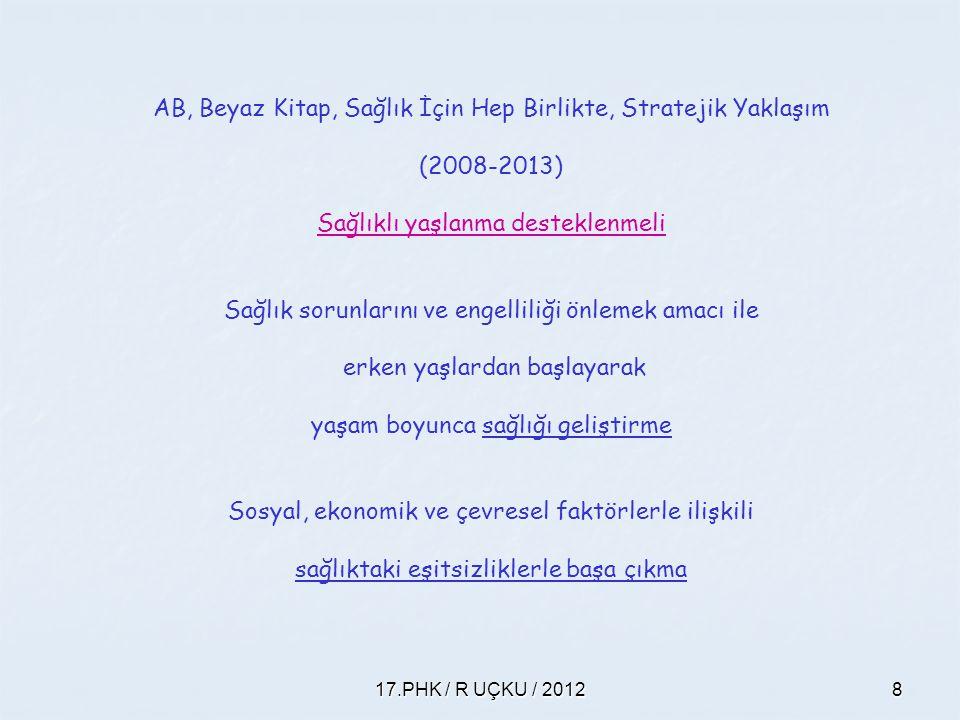 17.PHK / R UÇKU / 20128 AB, Beyaz Kitap, Sağlık İçin Hep Birlikte, Stratejik Yaklaşım (2008-2013) Sağlıklı yaşlanma desteklenmeli Sağlık sorunlarını v