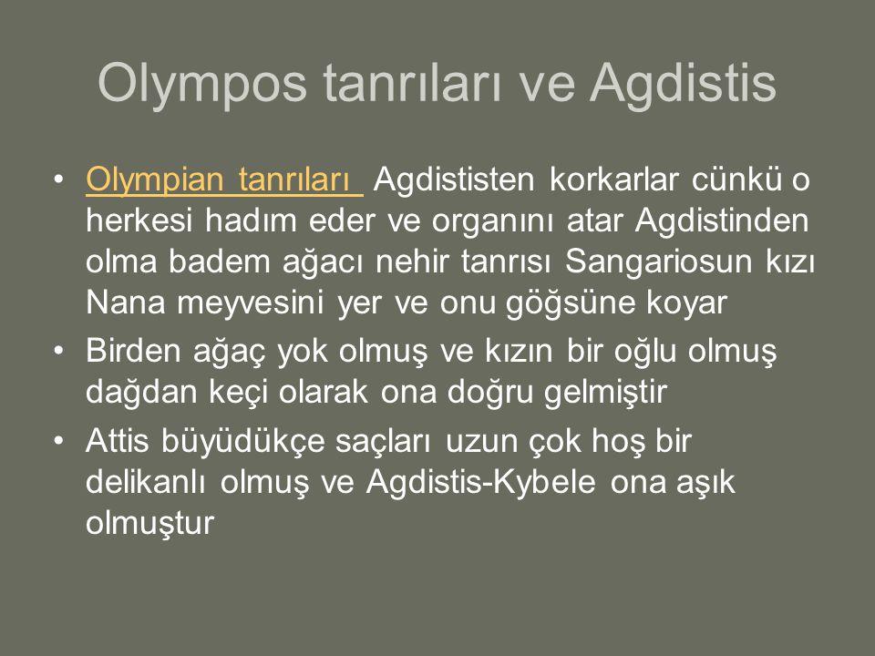 Olympos tanrıları ve Agdistis Olympian tanrıları Agdististen korkarlar cünkü o herkesi hadım eder ve organını atar Agdistinden olma badem ağacı nehir