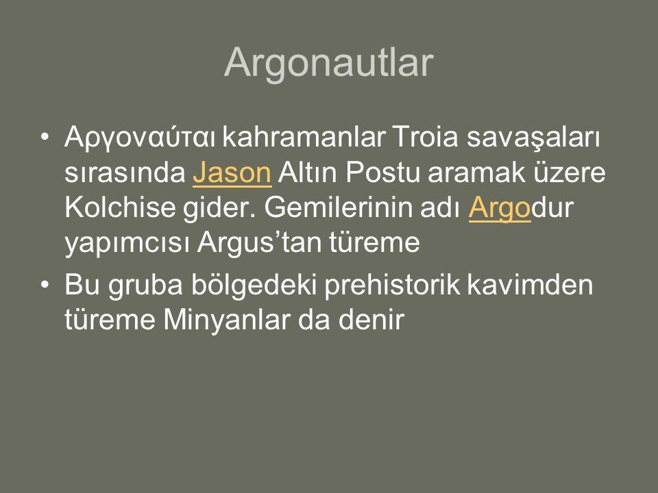 Argonautlar Αργοναύται kahramanlar Troia savaşaları sırasında Jason Altın Postu aramak üzere Kolchise gider. Gemilerinin adı Argodur yapımcısı Argus't