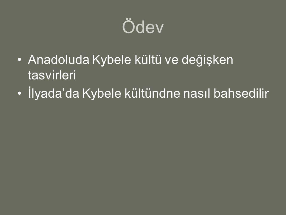 Ödev Anadoluda Kybele kültü ve değişken tasvirleri İlyada'da Kybele kültündne nasıl bahsedilir