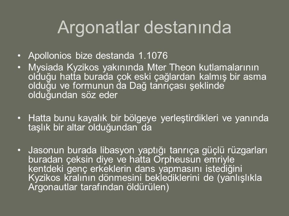 Argonatlar destanında Apollonios bize destanda 1.1076 Mysiada Kyzikos yakınında Mter Theon kutlamalarının olduğu hatta burada çok eski çağlardan kalmı