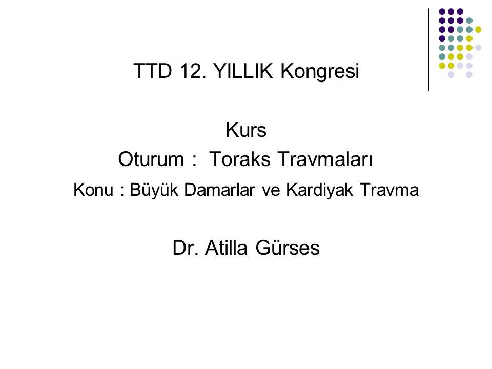 Myokardiyal kontuzyon 3 Toraks travmasında nadir olarak kapak lezyonları olabilir.