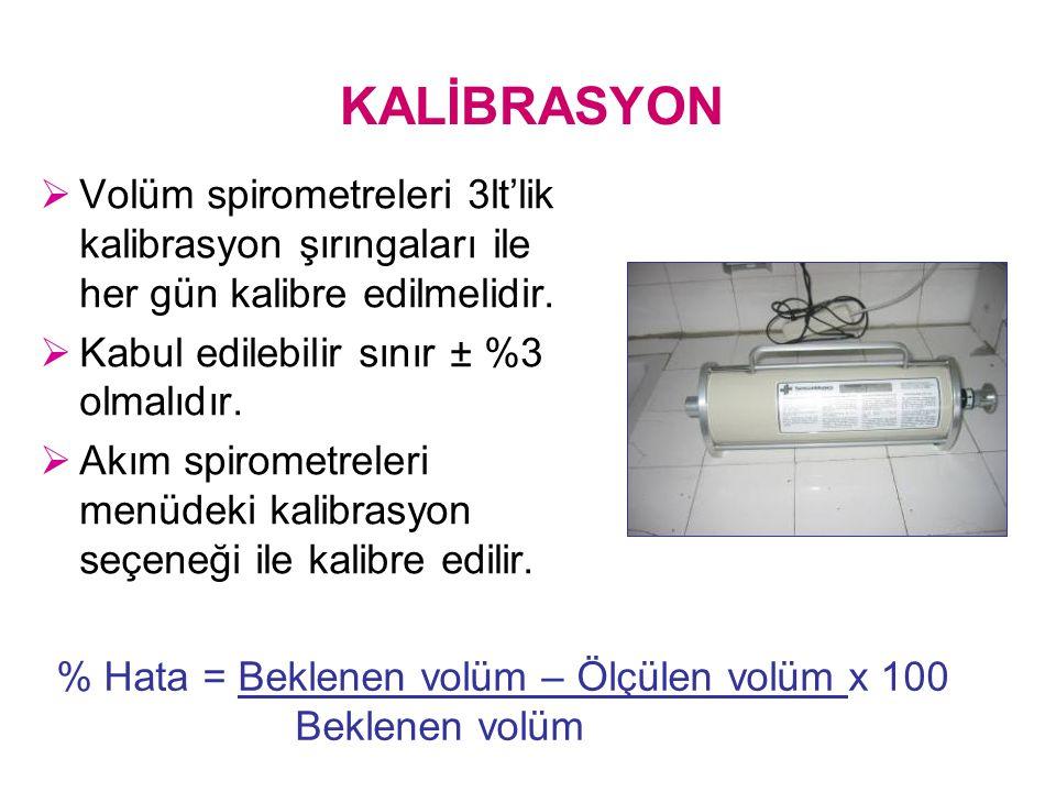 KALİBRASYON  Volüm spirometreleri 3lt'lik kalibrasyon şırıngaları ile her gün kalibre edilmelidir.  Kabul edilebilir sınır ± %3 olmalıdır.  Akım sp