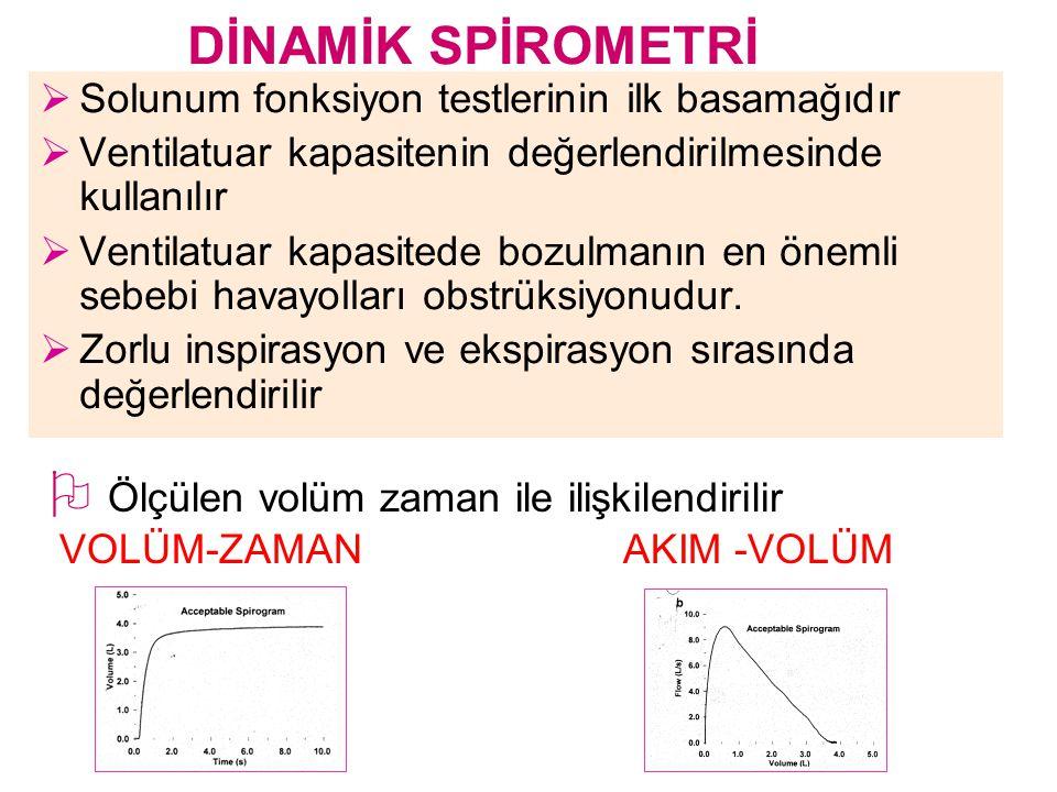  Solunum fonksiyon testlerinin ilk basamağıdır  Ventilatuar kapasitenin değerlendirilmesinde kullanılır  Ventilatuar kapasitede bozulmanın en öneml