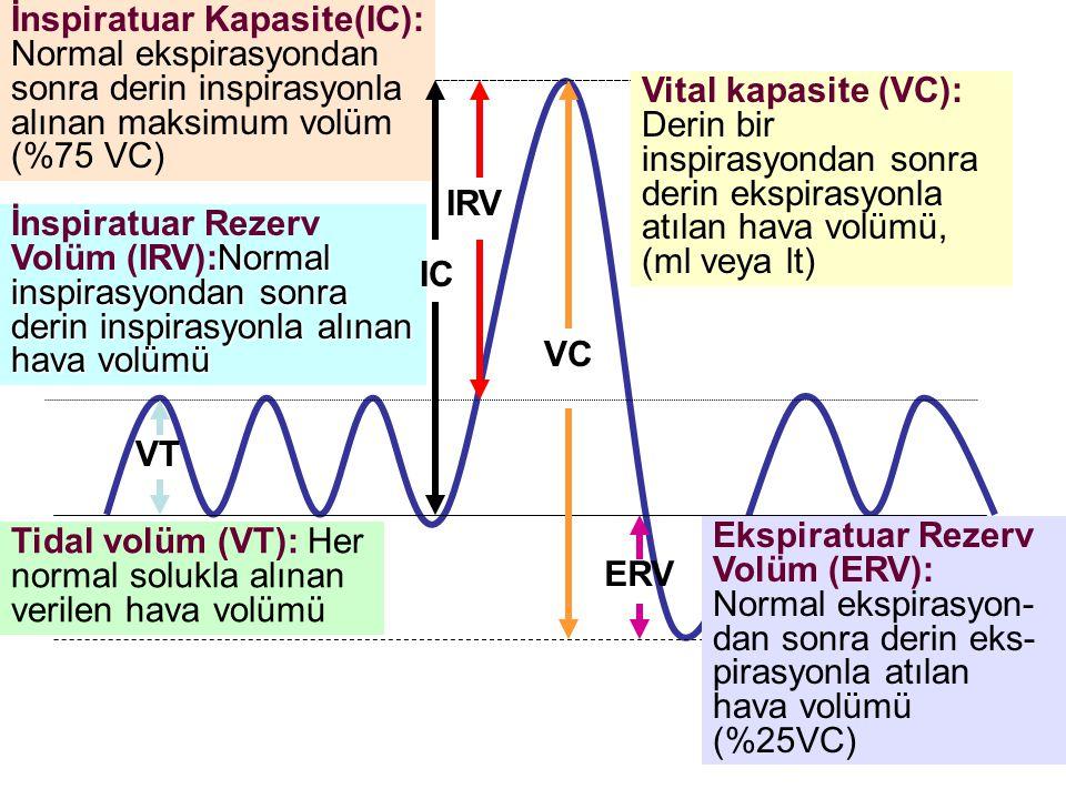 Vital kapasite (VC): Derin bir inspirasyondan sonra derin ekspirasyonla atılan hava volümü, (ml veya lt) VC VT Tidal volüm (VT): Her normal solukla al