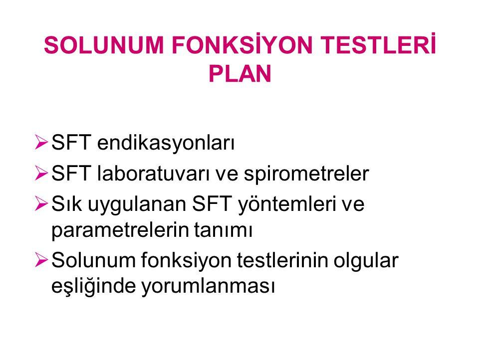 SOLUNUM FONKSİYON TESTLERİ PLAN  SFT endikasyonları  SFT laboratuvarı ve spirometreler  Sık uygulanan SFT yöntemleri ve parametrelerin tanımı  Sol