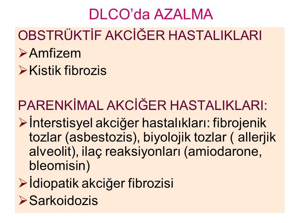 DLCO'da AZALMA OBSTRÜKTİF AKCİĞER HASTALIKLARI  Amfizem  Kistik fibrozis PARENKİMAL AKCİĞER HASTALIKLARI:  İnterstisyel akciğer hastalıkları: fibro
