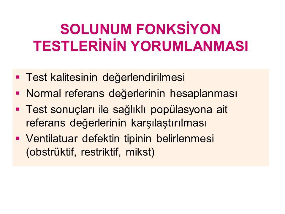 SOLUNUM FONKSİYON TESTLERİNİN YORUMLANMASI  Test kalitesinin değerlendirilmesi  Normal referans değerlerinin hesaplanması  Test sonuçları ile sağlı