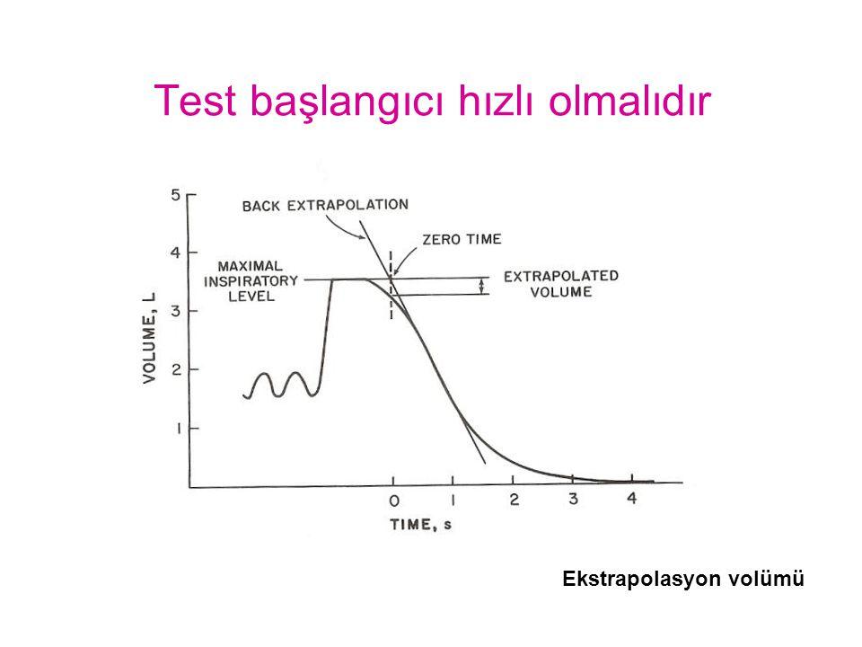 Test başlangıcı hızlı olmalıdır Ekstrapolasyon volümü