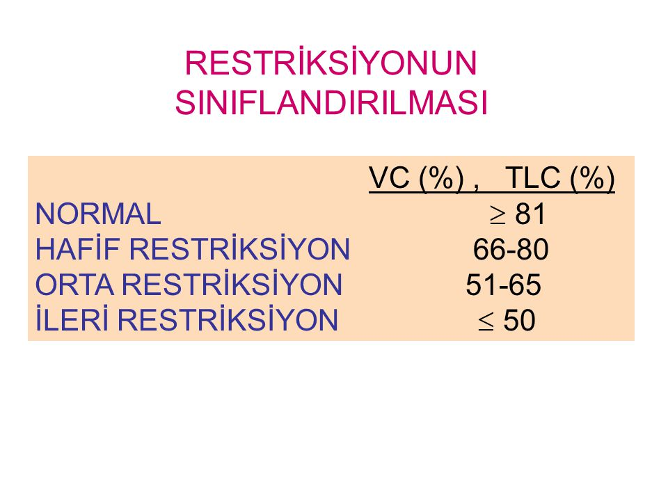 RESTRİKSİYONUN SINIFLANDIRILMASI VC (%), TLC (%) NORMAL  81 HAFİF RESTRİKSİYON 66-80 ORTA RESTRİKSİYON 51-65 İLERİ RESTRİKSİYON  50
