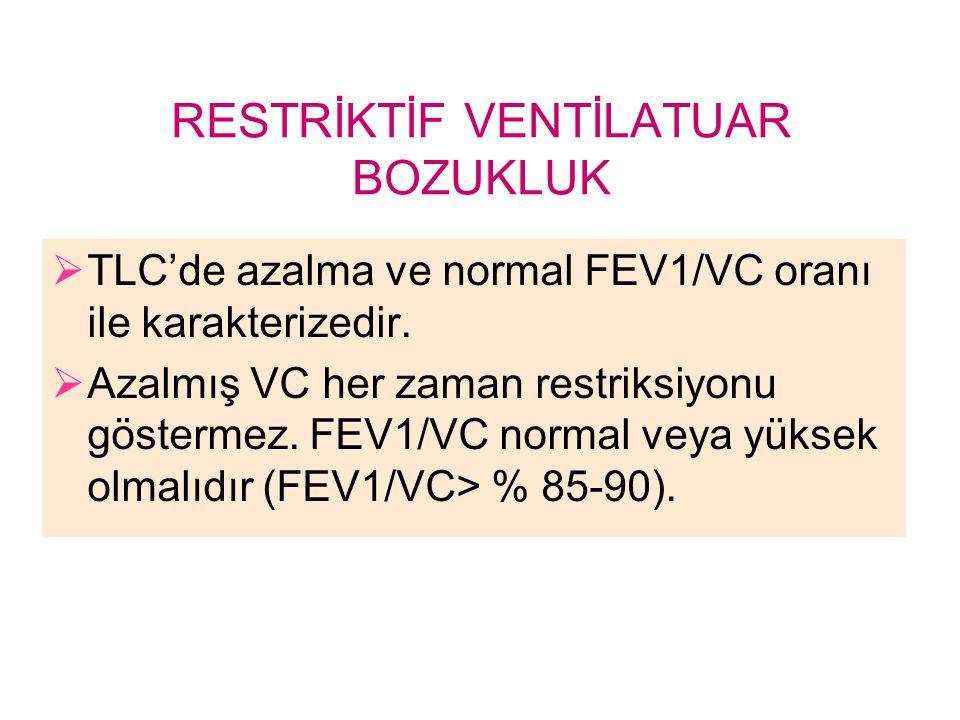 RESTRİKTİF VENTİLATUAR BOZUKLUK  TLC'de azalma ve normal FEV1/VC oranı ile karakterizedir.  Azalmış VC her zaman restriksiyonu göstermez. FEV1/VC no