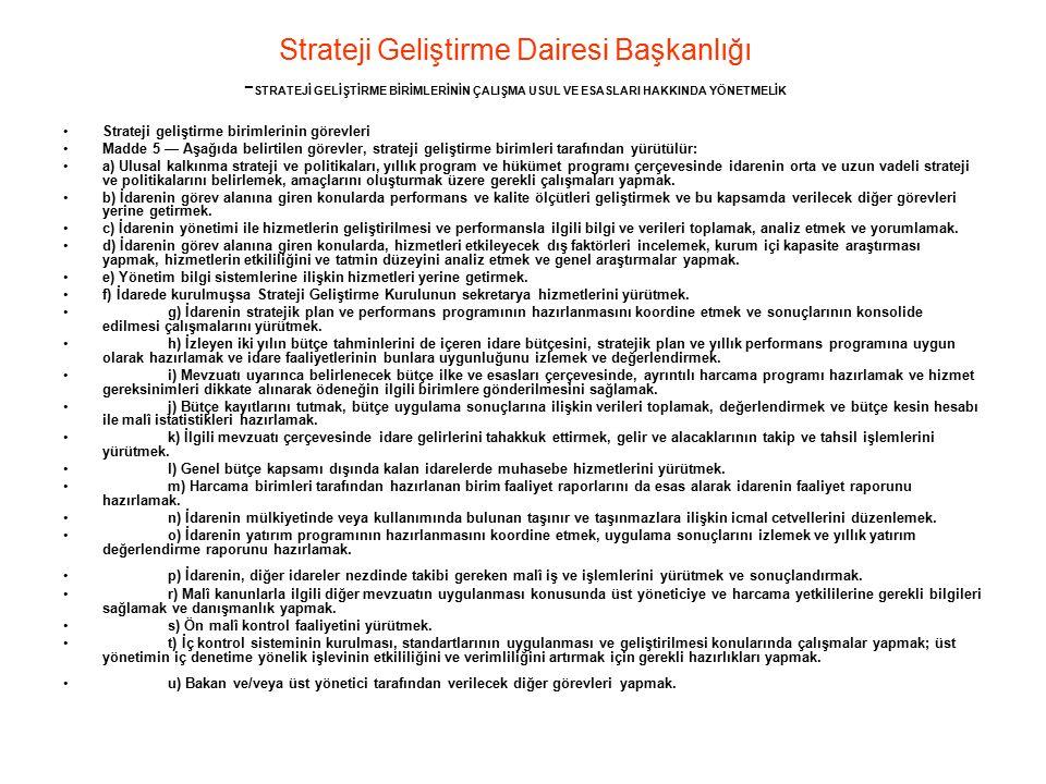 Strateji Geliştirme Dairesi Başkanlığı - STRATEJİ GELİŞTİRME BİRİMLERİNİN ÇALIŞMA USUL VE ESASLARI HAKKINDA YÖNETMELİK Strateji geliştirme birimlerini