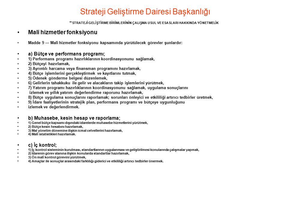 Strateji Geliştirme Dairesi Başkanlığı - STRATEJİ GELİŞTİRME BİRİMLERİNİN ÇALIŞMA USUL VE ESASLARI HAKKINDA YÖNETMELİK Malî hizmetler fonksiyonu Madde