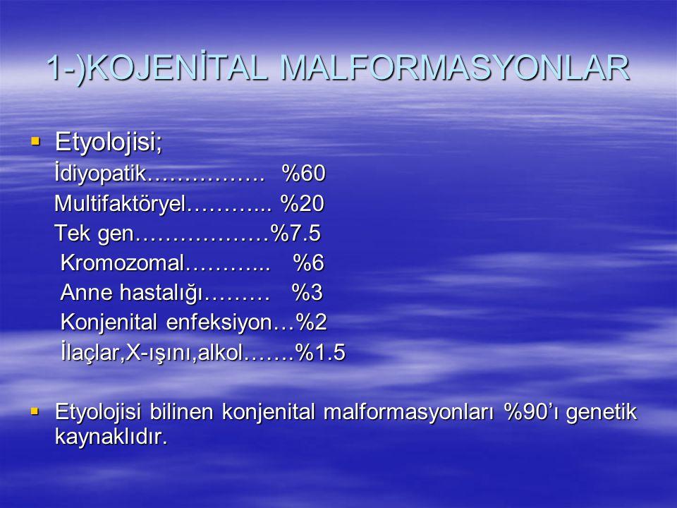 1-)KOJENİTAL MALFORMASYONLAR  Etyolojisi; İdiyopatik……………. %60 İdiyopatik……………. %60 Multifaktöryel………... %20 Multifaktöryel………... %20 Tek gen………………%7
