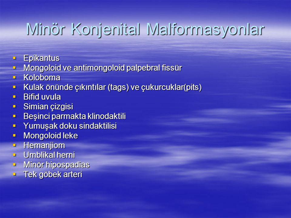 Minör Konjenital Malformasyonlar  Epikantus  Mongoloid ve antimongoloid palpebral fissür  Koloboma  Kulak önünde çıkıntılar (tags) ve çukurcuklar(