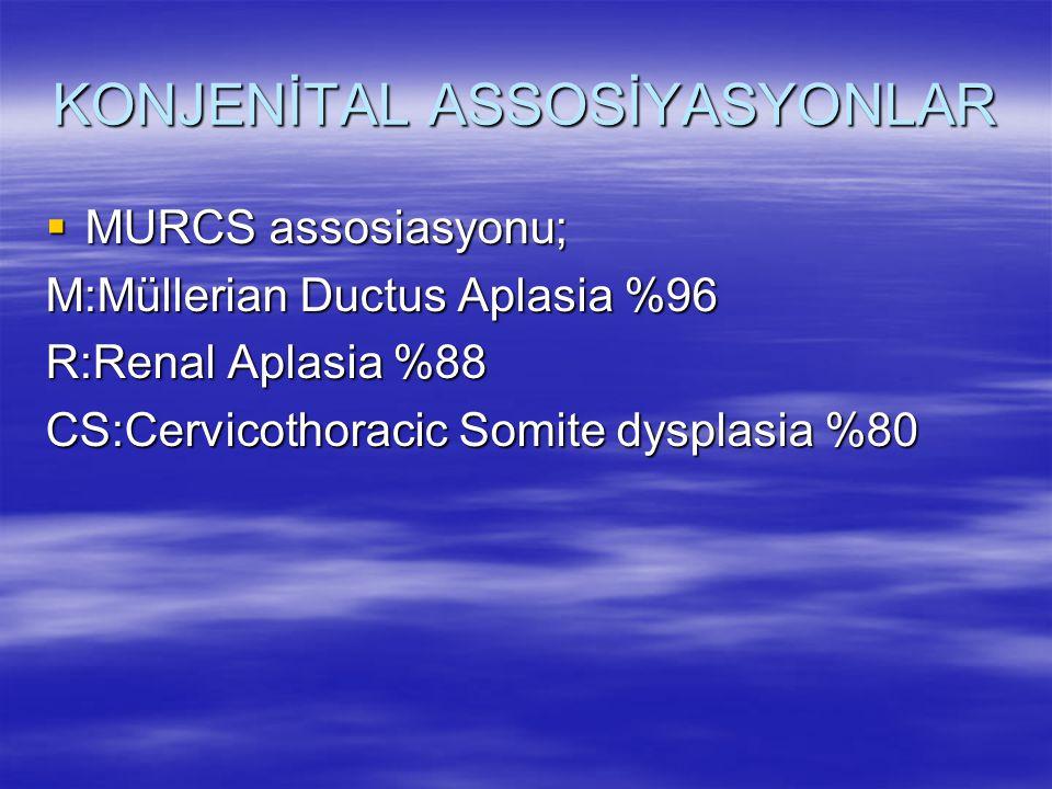 KONJENİTAL ASSOSİYASYONLAR  MURCS assosiasyonu; M:Müllerian Ductus Aplasia %96 R:Renal Aplasia %88 CS:Cervicothoracic Somite dysplasia %80