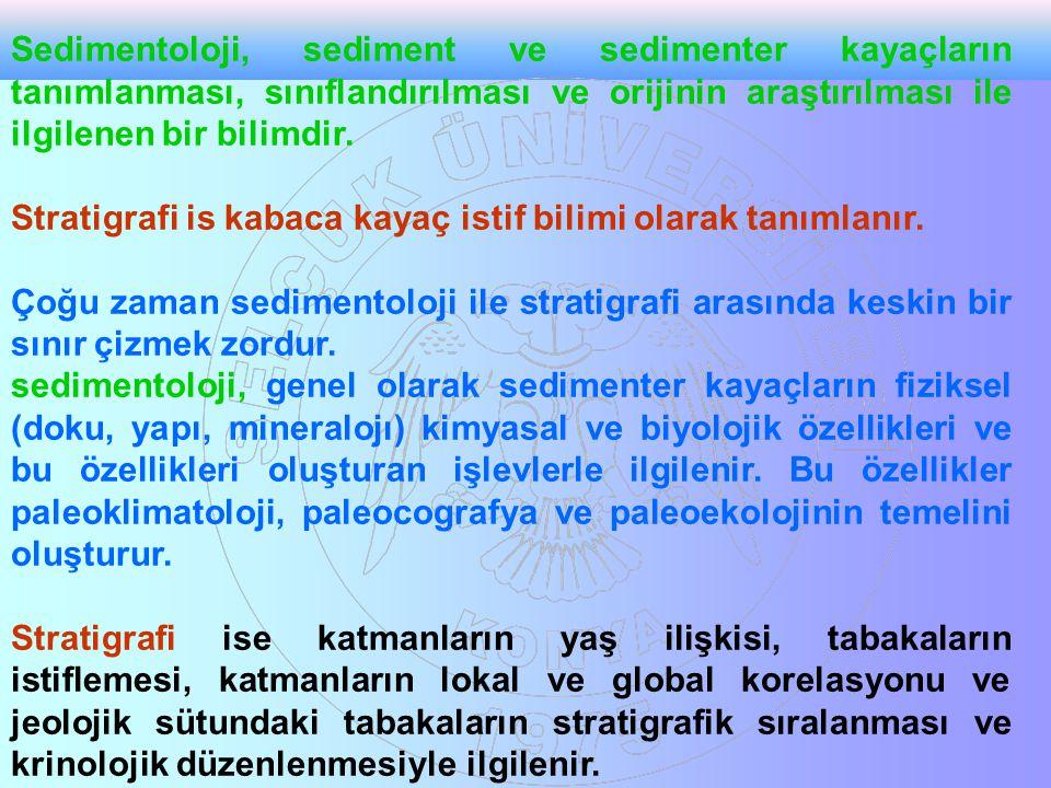 Sedimentoloji, sediment ve sedimenter kayaçların tanımlanması, sınıflandırılması ve orijinin araştırılması ile ilgilenen bir bilimdir. Stratigrafi is