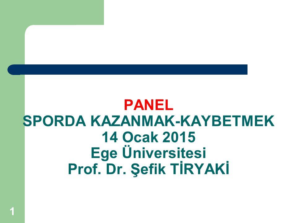 PANEL SPORDA KAZANMAK-KAYBETMEK 14 Ocak 2015 Ege Üniversitesi Prof. Dr. Şefik TİRYAKİ 1