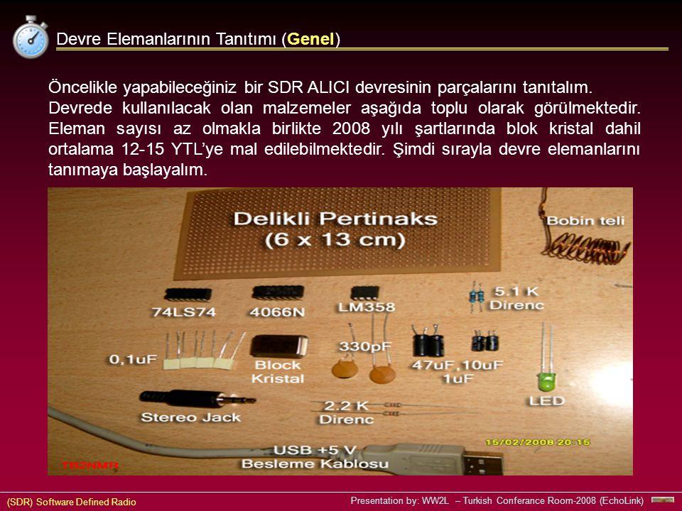 (SDR) Software Defined Radio Presentation by: WW2L – Turkish Conferance Room-2008 (EchoLink) Devre Elemanlarının Tanıtımı (Genel) Öncelikle yapabileceğiniz bir SDR ALICI devresinin parçalarını tanıtalım.