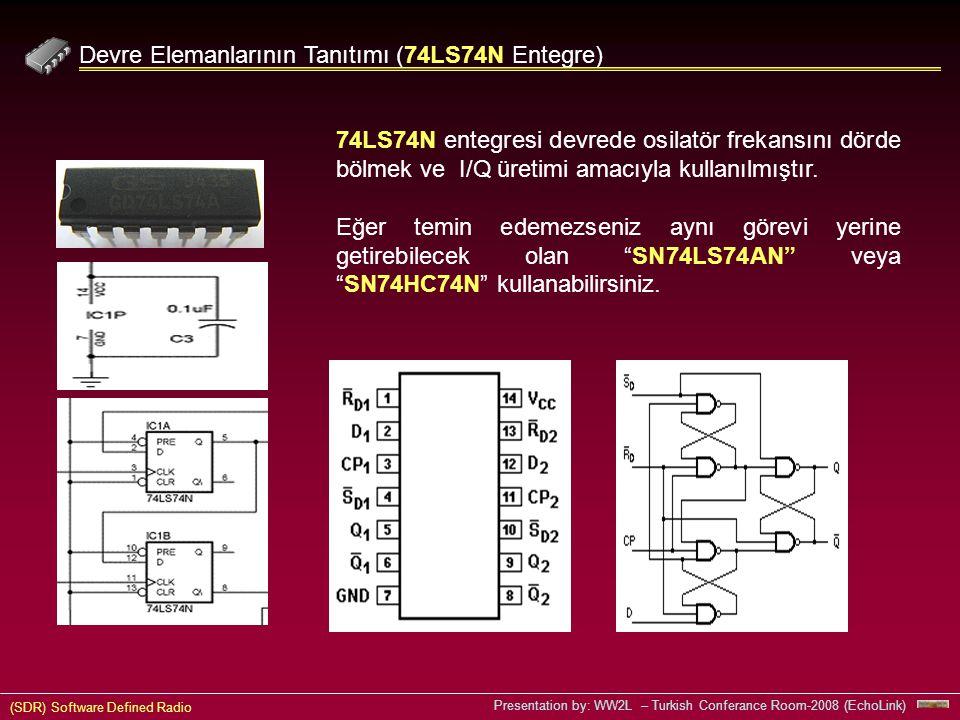 (SDR) Software Defined Radio Presentation by: WW2L – Turkish Conferance Room-2008 (EchoLink) Devre Elemanlarının Tanıtımı (74LS74N Entegre) 74LS74N entegresi devrede osilatör frekansını dörde bölmek ve I/Q üretimi amacıyla kullanılmıştır.