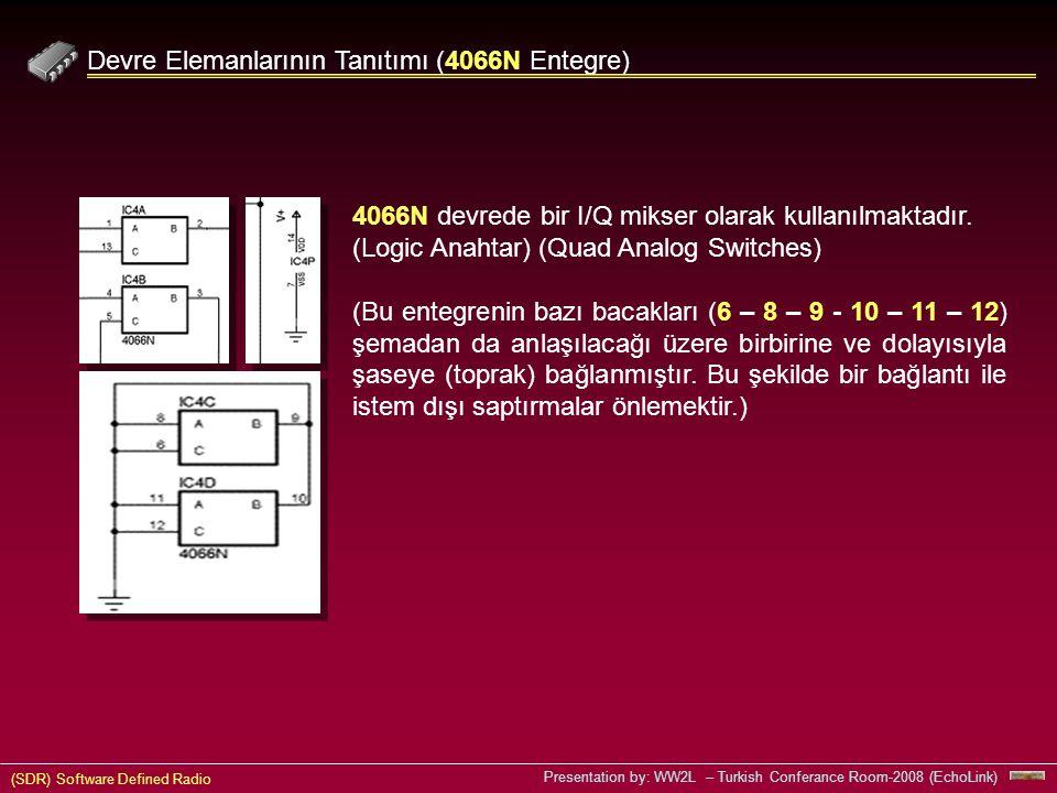 (SDR) Software Defined Radio Presentation by: WW2L – Turkish Conferance Room-2008 (EchoLink) Devre Elemanlarının Tanıtımı (4066N Entegre) 4066N devrede bir I/Q mikser olarak kullanılmaktadır.