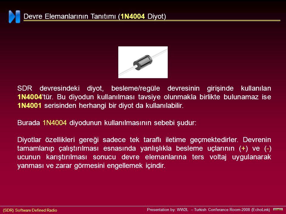 (SDR) Software Defined Radio Presentation by: WW2L – Turkish Conferance Room-2008 (EchoLink) 1N4004 Devre Elemanlarının Tanıtımı (1N4004 Diyot) SDR devresindeki diyot, besleme/regüle devresinin girişinde kullanılan 1N4004'tür.