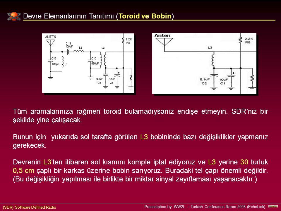 (SDR) Software Defined Radio Presentation by: WW2L – Turkish Conferance Room-2008 (EchoLink) Devre Elemanlarının Tanıtımı (Toroid ve Bobin) Tüm aramalarınıza rağmen toroid bulamadıysanız endişe etmeyin.