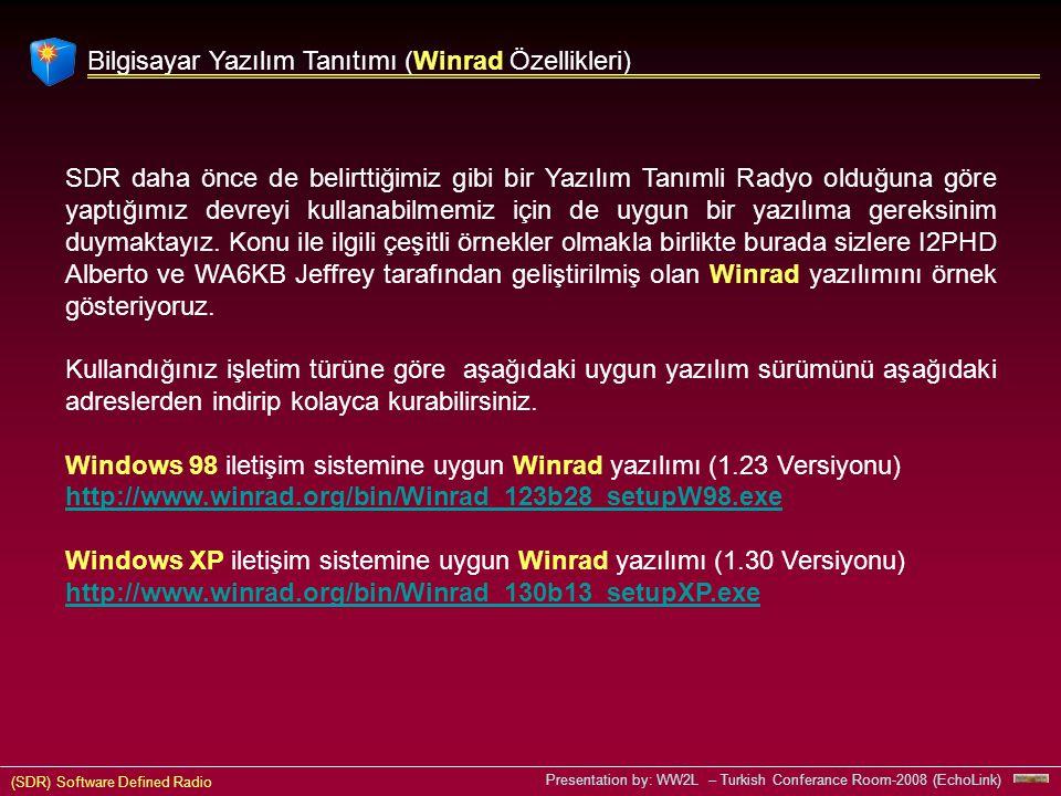 (SDR) Software Defined Radio Presentation by: WW2L – Turkish Conferance Room-2008 (EchoLink) Bilgisayar Yazılım Tanıtımı (Winrad Özellikleri) SDR daha önce de belirttiğimiz gibi bir Yazılım Tanımli Radyo olduğuna göre yaptığımız devreyi kullanabilmemiz için de uygun bir yazılıma gereksinim duymaktayız.
