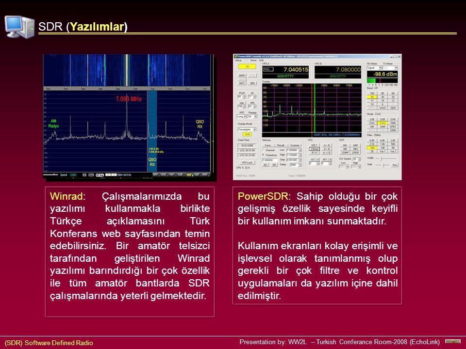 (SDR) Software Defined Radio Presentation by: WW2L – Turkish Conferance Room-2008 (EchoLink) SDR (Yazılımlar) Winrad: Çalışmalarımızda bu yazılımı kullanmakla birlikte Türkçe açıklamasını Türk Konferans web sayfasından temin edebilirsiniz.