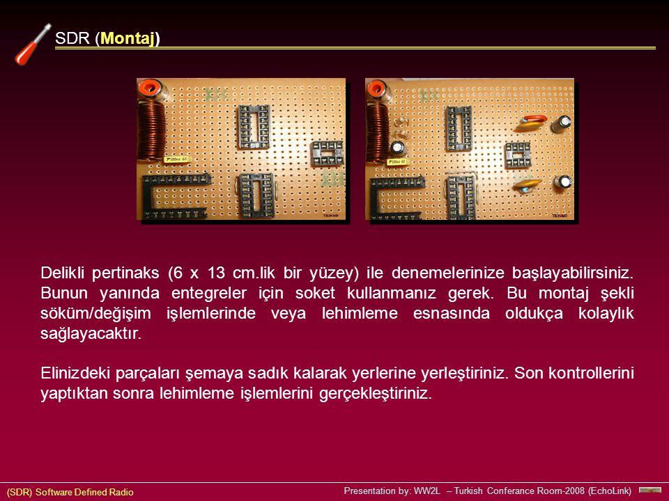 (SDR) Software Defined Radio Presentation by: WW2L – Turkish Conferance Room-2008 (EchoLink) Delikli pertinaks (6 x 13 cm.lik bir yüzey) ile denemelerinize başlayabilirsiniz.