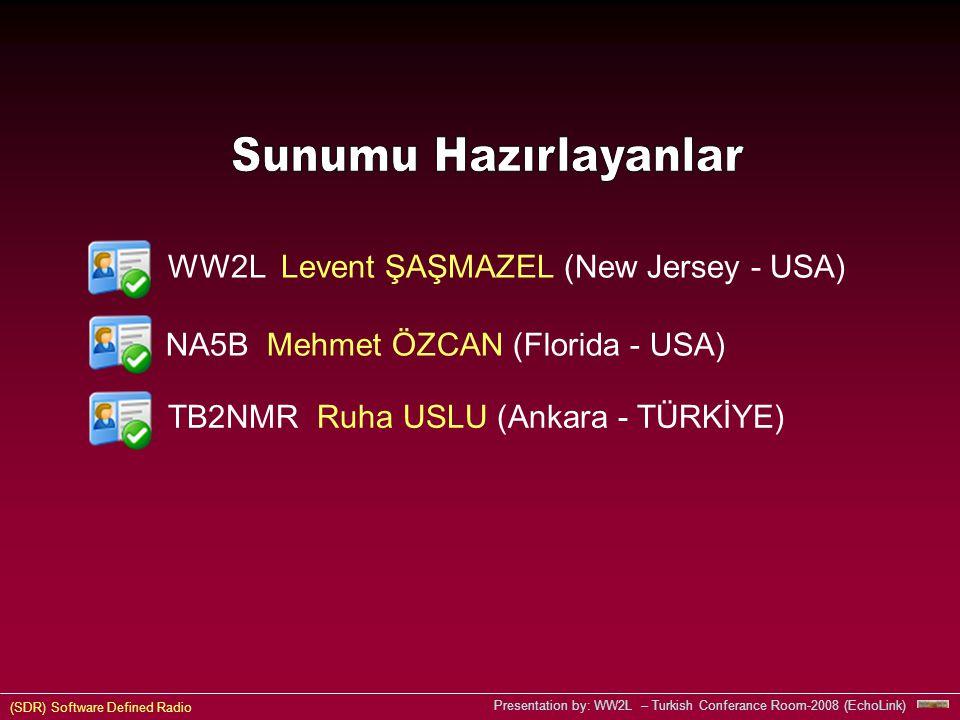 (SDR) Software Defined Radio Presentation by: WW2L – Turkish Conferance Room-2008 (EchoLink) NA5B Mehmet ÖZCAN (Florida - USA) WW2L Levent ŞAŞMAZEL (New Jersey - USA) TB2NMR Ruha USLU (Ankara - TÜRKİYE)