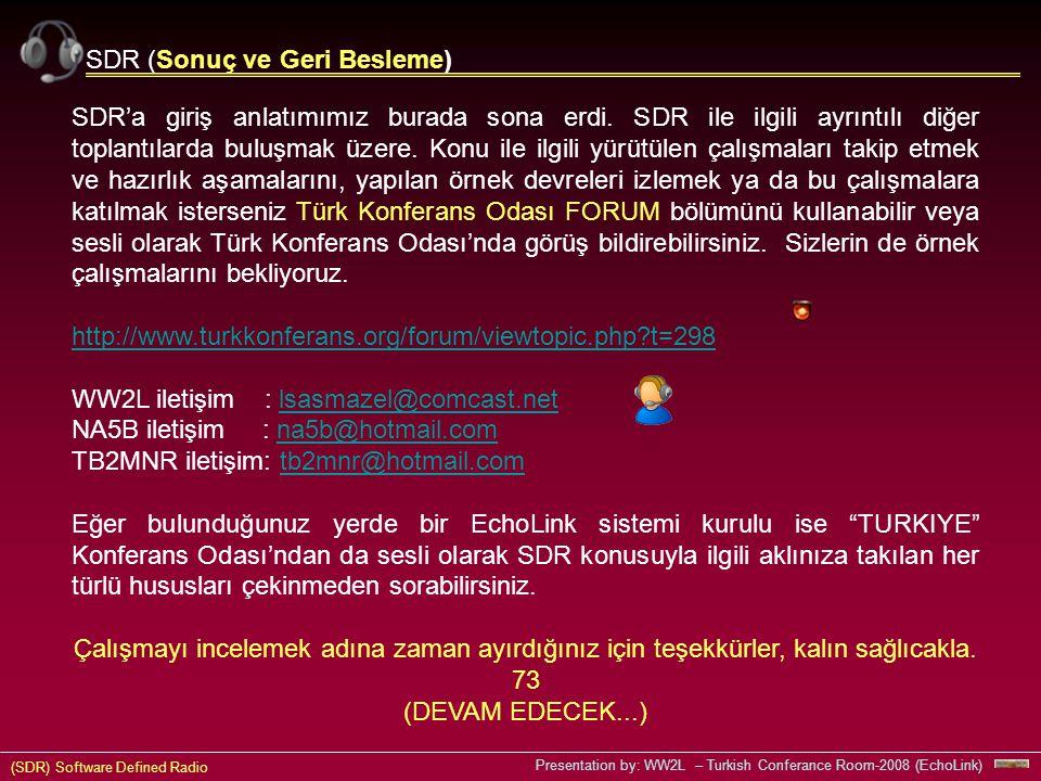 (SDR) Software Defined Radio Presentation by: WW2L – Turkish Conferance Room-2008 (EchoLink) SDR (Sonuç ve Geri Besleme) SDR'a giriş anlatımımız burada sona erdi.