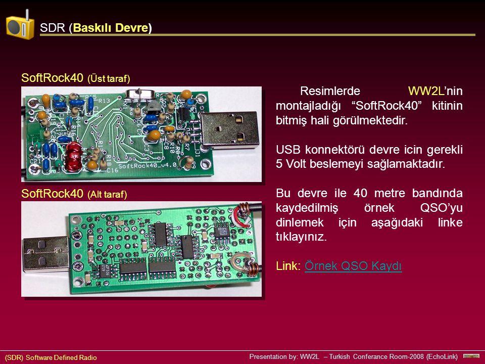 (SDR) Software Defined Radio Presentation by: WW2L – Turkish Conferance Room-2008 (EchoLink) SDR (Baskılı Devre) Resimlerde WW2L'nin montajladığı SoftRock40 kitinin bitmiş hali görülmektedir.