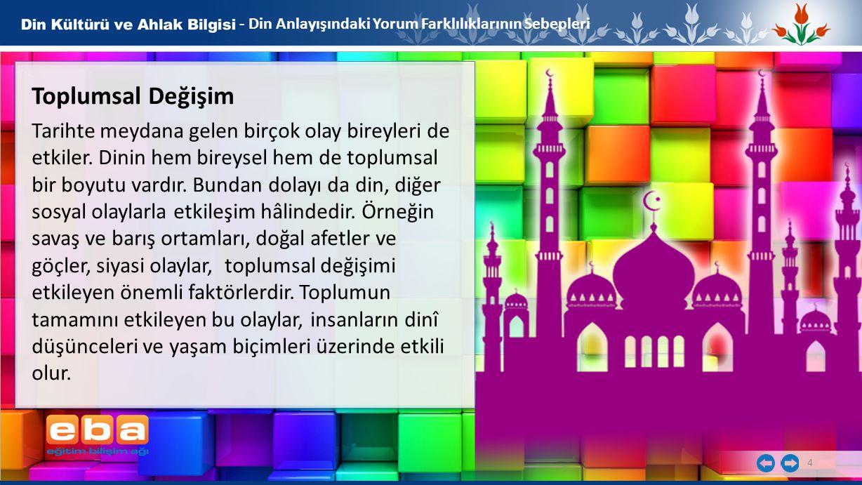 5 - Din Anlayışındaki Yorum Farklılıklarının Sebepleri Ortam ve Kültür Her toplumun inancı, kendi kültür, örf ve âdetlerinden etkilenir.