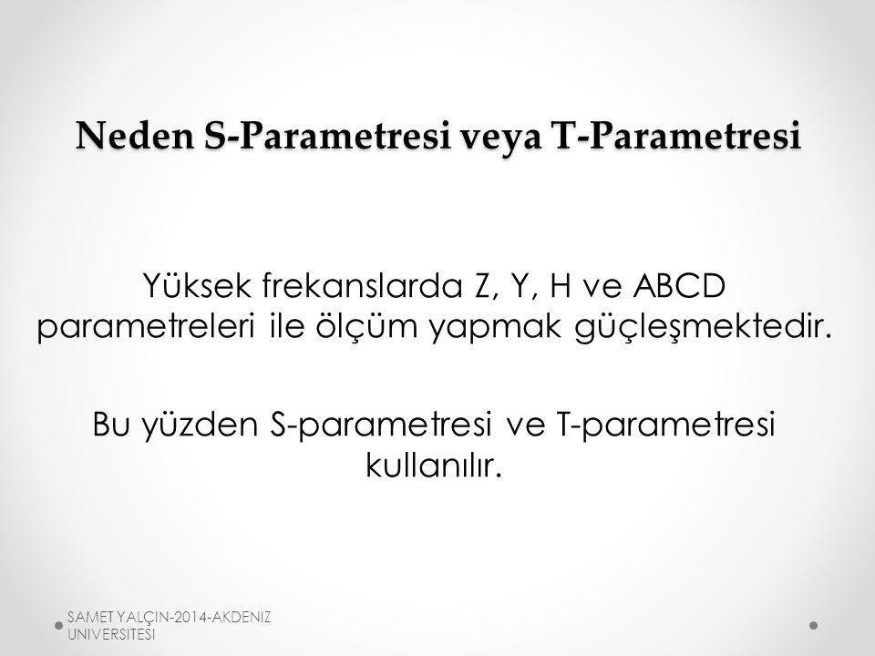 Neden S-Parametresi veya T-Parametresi Yüksek frekanslarda Z, Y, H ve ABCD parametreleri ile ölçüm yapmak güçleşmektedir.