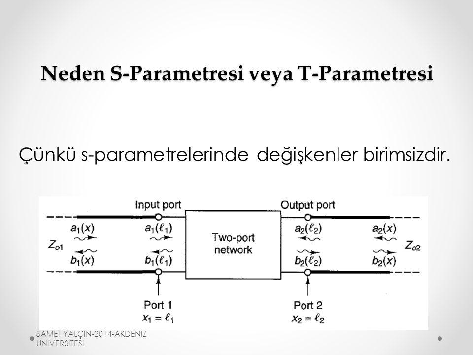 Neden S-Parametresi veya T-Parametresi Çünkü s-parametrelerinde değişkenler birimsizdir.