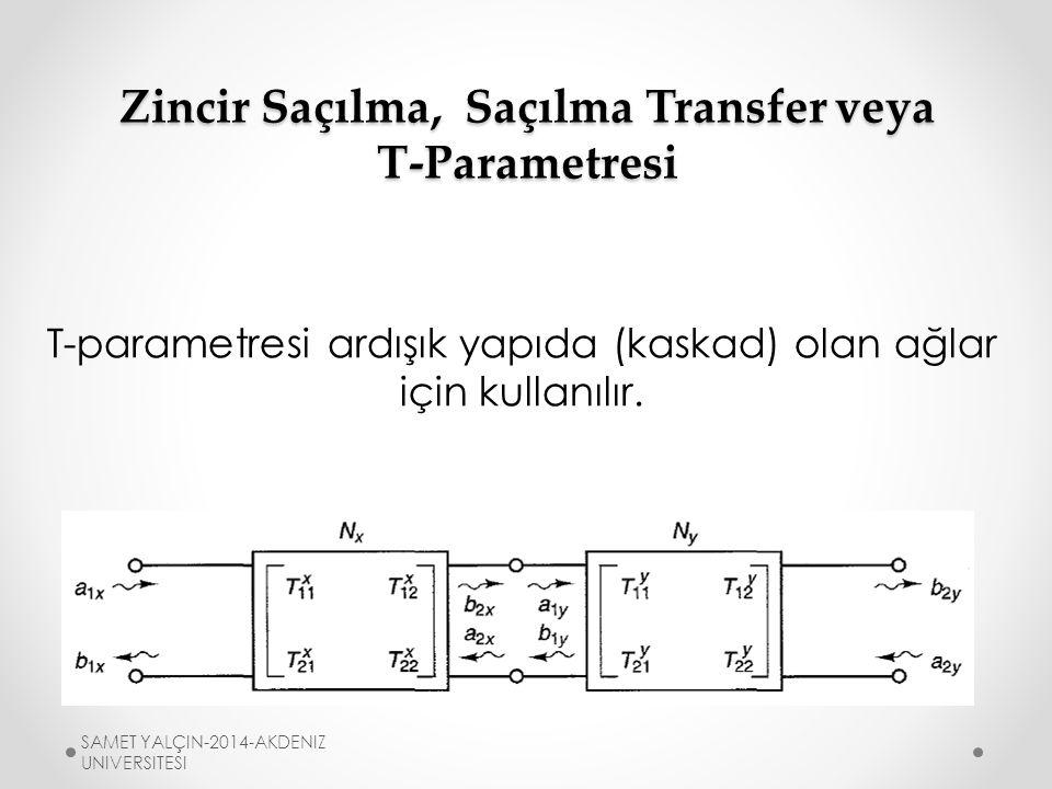 Zincir Saçılma, Saçılma Transfer veya T-Parametresi S-parametresinin bağımsız değişkenleri giriş dalgaları iken T-parametresinin bağımsız değişkenleri port2'nin giriş ve yansıyan dalgalarıdır.