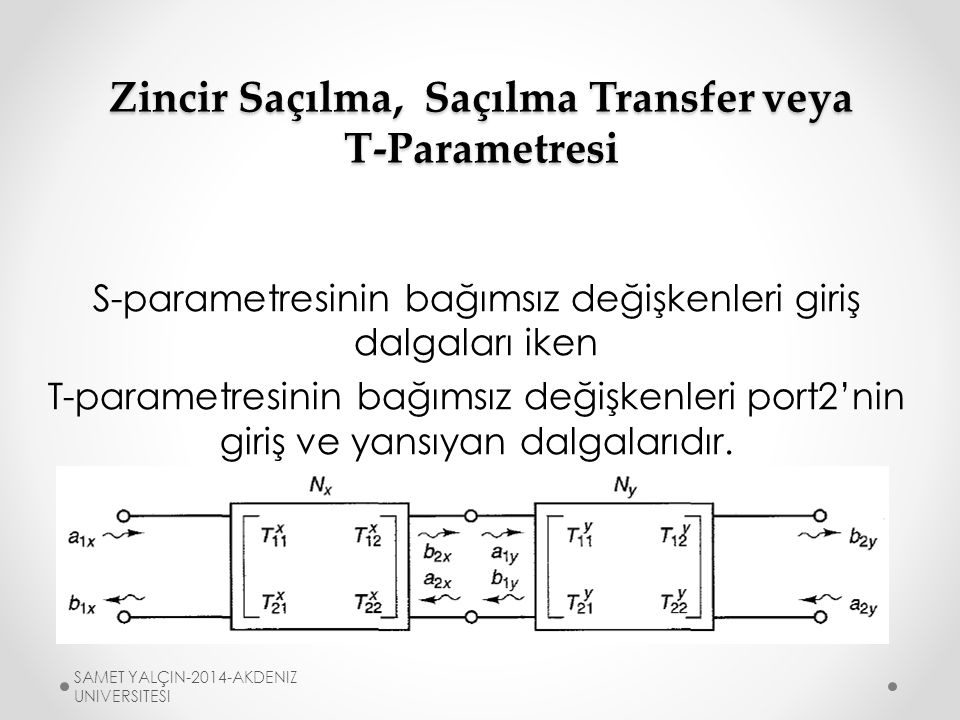 Zincir Saçılma, Saçılma Transfer veya T-Parametresi X modülünün port2 giriş çıkışı Y modülünün port1 giriş çıkışı ile aynı olduğu için modülleri yorumlamak kolaylaşır.