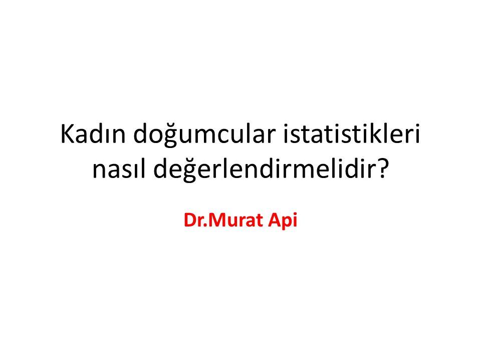 Kadın doğumcular istatistikleri nasıl değerlendirmelidir? Dr.Murat Api