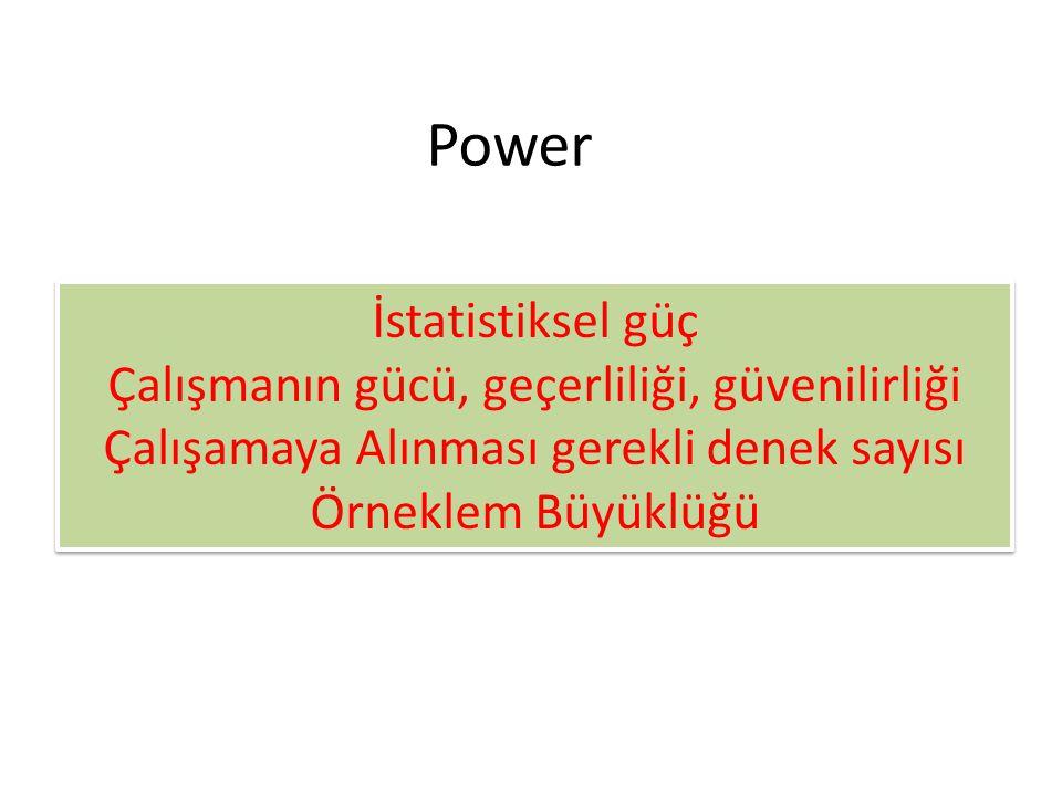 Power İstatistiksel güç Çalışmanın gücü, geçerliliği, güvenilirliği Çalışamaya Alınması gerekli denek sayısı Örneklem Büyüklüğü İstatistiksel güç Çalı